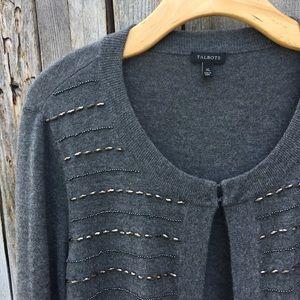 Talbots Sweaters - Talbots Beaded Cardigan Charcoal XL